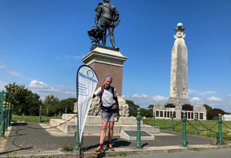 Paul O'Boyle reached The Sir Francis Drake memorial at Plymouth Hoe five days after leaving Old Harry Rocks in Swanage, Dorset