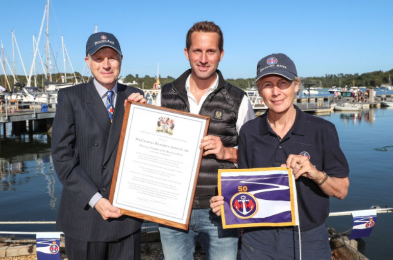 Lord Montagu and Mary Montagu-Scott present 'Freedom of the Beaulieu River' to Sir Ben Ainslie