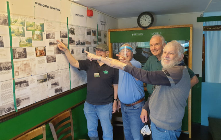 Wimborne Model Town Railway Team with their local railway history display