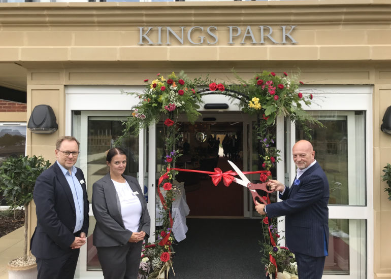 (L to R): Simon McCall – Barchester's commercial director, Helen Lacey – general manager of Kings Park and Paul Kinvig – local facilitator and connector