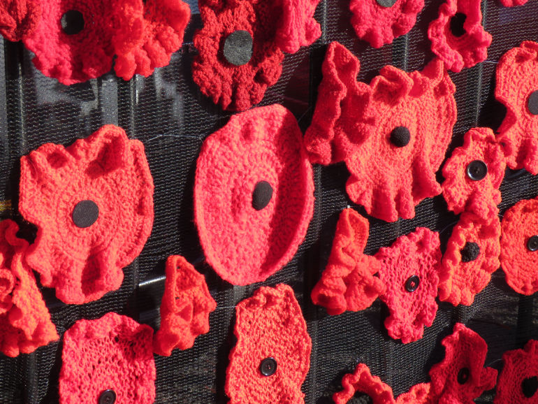 Knitted and crocheted poppies similar to these but with white and mauve poppies added will adorn West Moors War Memorial this November