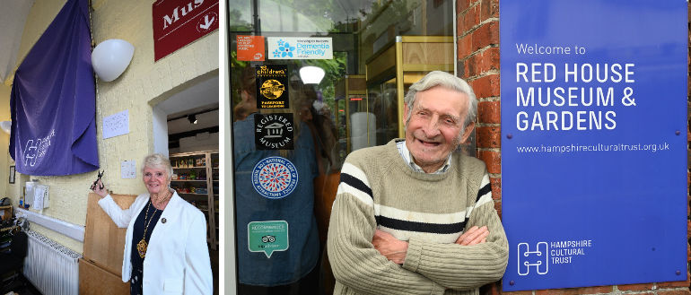 Left: The Mayor unveils the commemorative plaque and right: Museum volunteer Colin Ridley