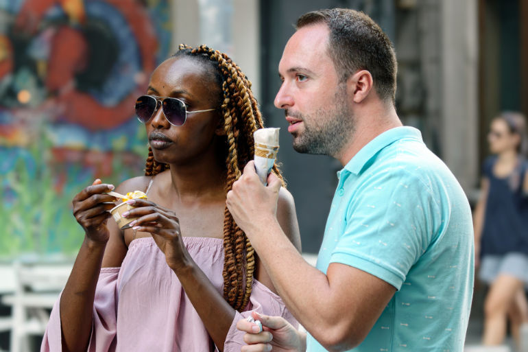 Tourist eating ice cream