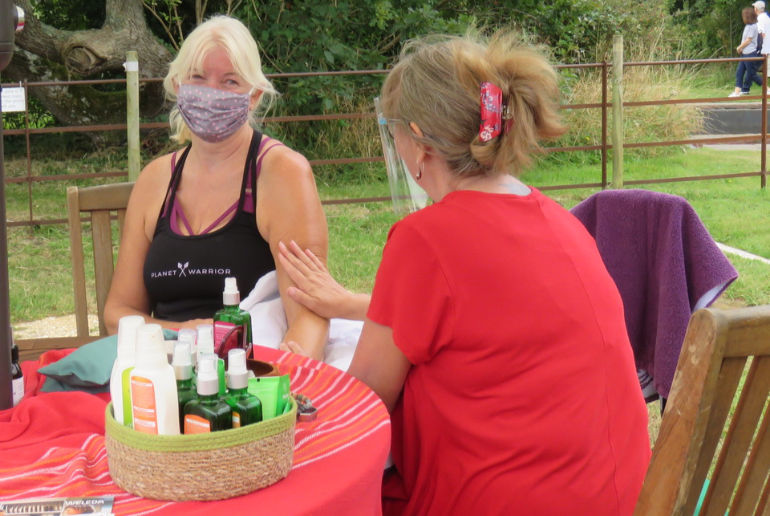 Massages using products by Weleda were available for a donation to charity