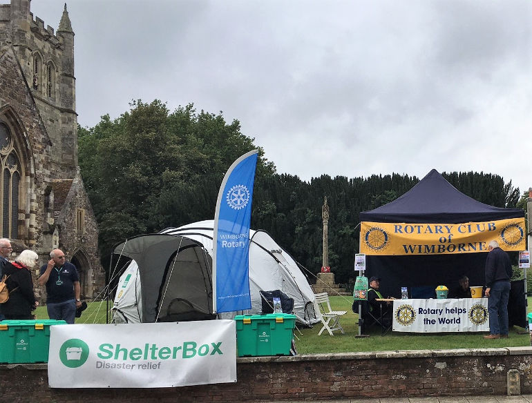 Wimborne Rotary Shelterbox display on Minster Green