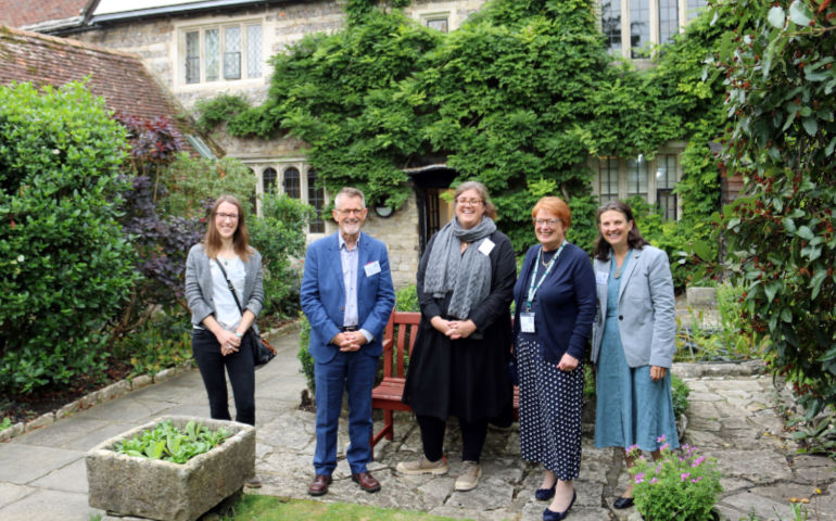 L-R: Philippa Davies and Stephen Boyce from the National Lottery Heritage fund; Claire Fear, conservation architect, Thread; Sara Marshall, chairman of the Priest's House Museum Trust and Jane Alexander, project manager