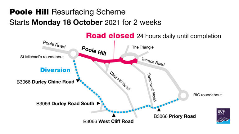 A35 Poole Hill maintenance map